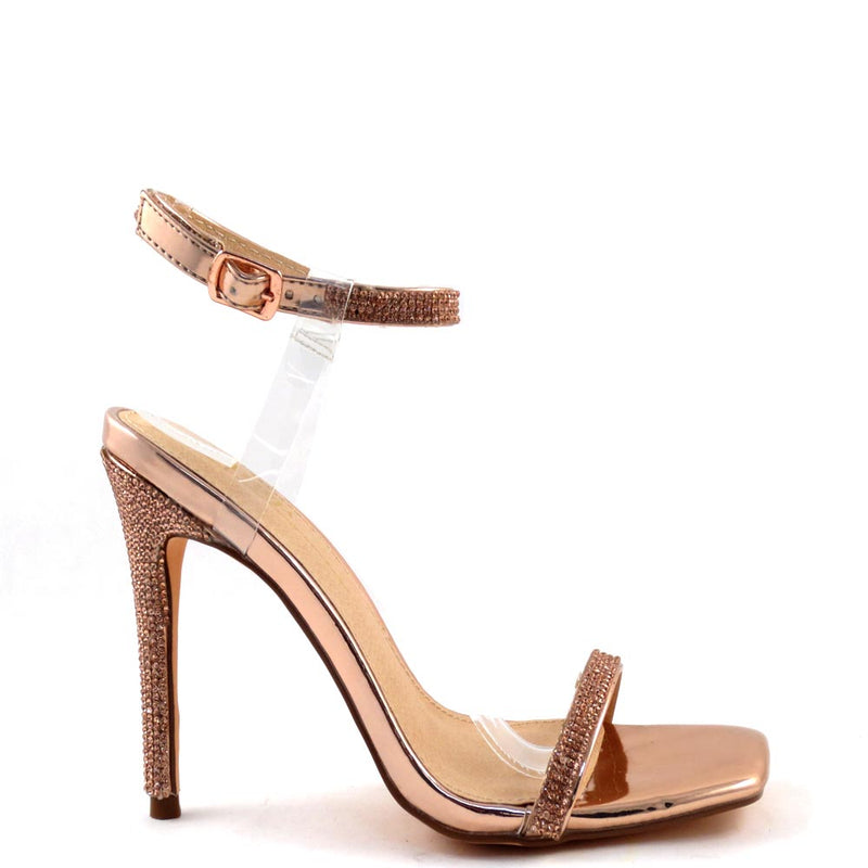 Olivia Jaymes Blingy Open Square Toe Clear Ankle Strap Detail Heels - Missu
