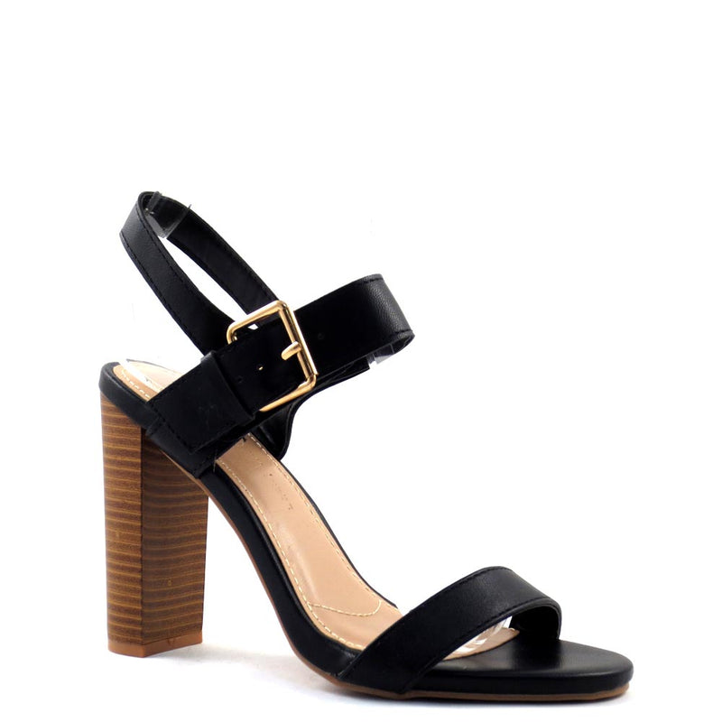 Wild Diva Lounge Open Toe Ankle Strap Buckle Detail Stacked Heels - Morris 318