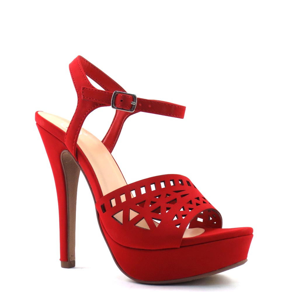 Delicious Laser Cut Upper Open Toe Ankle Strap Stiletto Platform Heel - Onboard