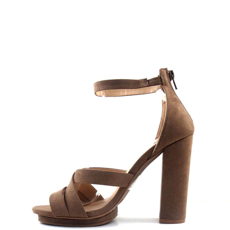 Pace-26 Wild Diva Taupe Criss Cross Upper Ankle Strap Platform Chunky Heel