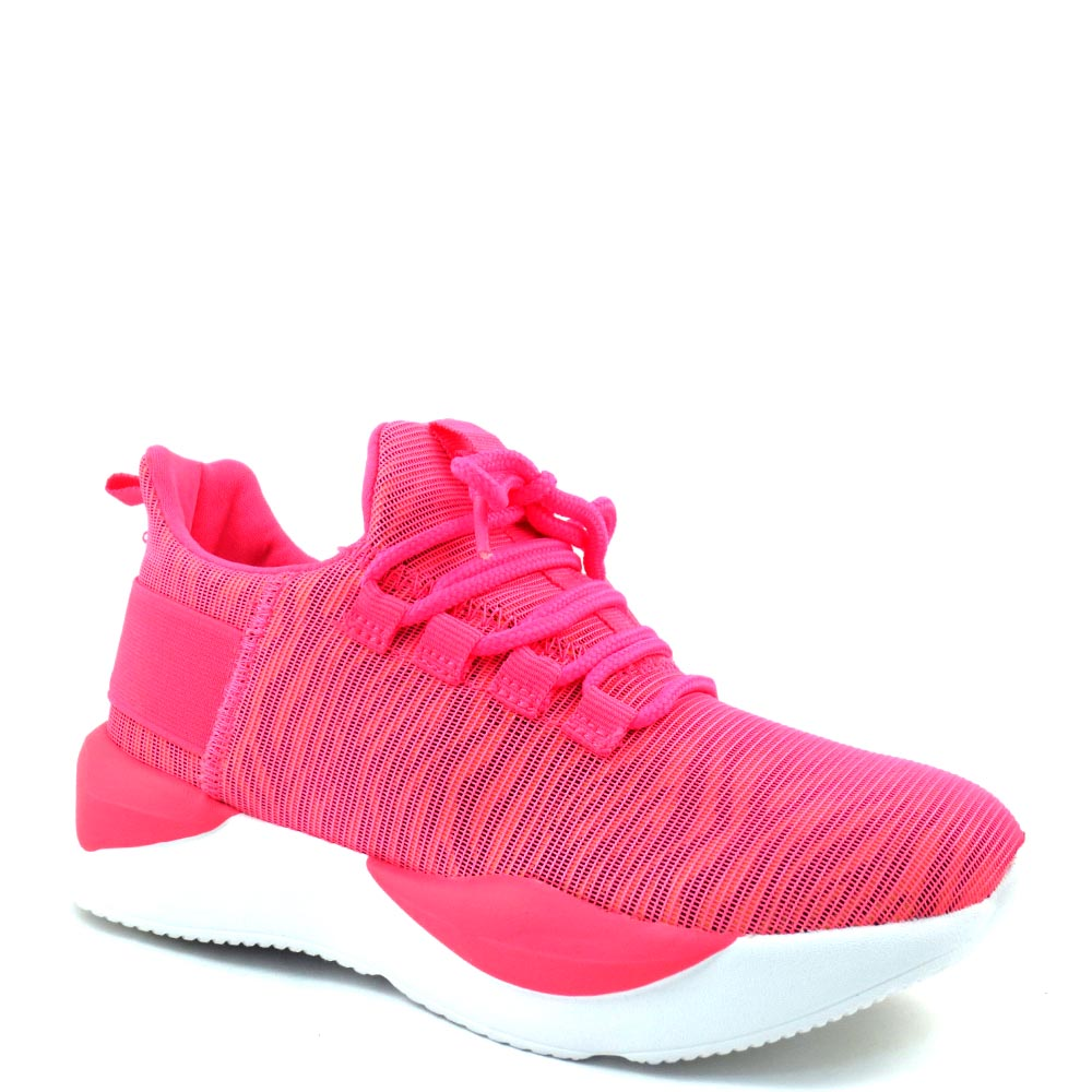 Women's La Sheelah High Fashion Stretchy Material Lace Up Sneakers - Peak 8
