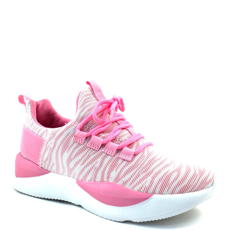 La Sheelah High Fashion Stretchy Material Lace Up Sneakers - Peak 8
