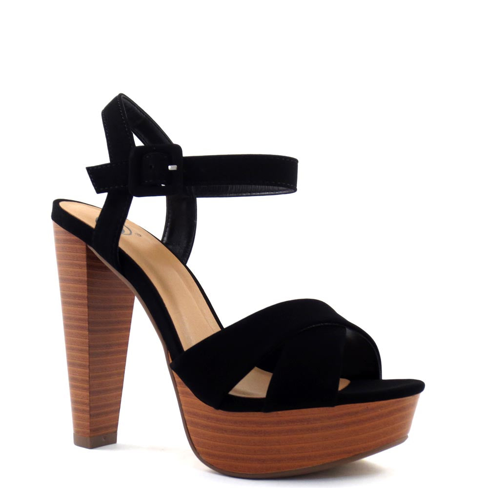 Delicious Open Toe Criss Cross Upper Ankle Strap Platform Chunky Heel - Rancho