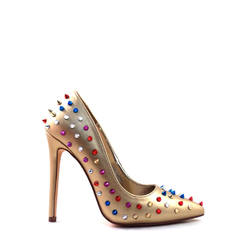 Red Cherry Patent Multi Color Studded Detail Pointy Toe Heels - Ricky 18