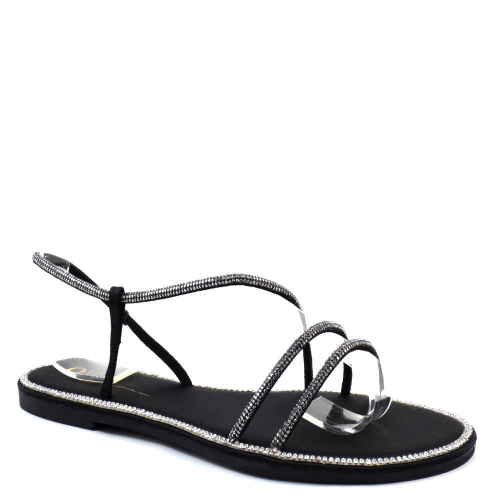 Olivia Jaymes Open Toe Strappy Upper Rhinestone Trim Detail Slide In Sandals - Samoa