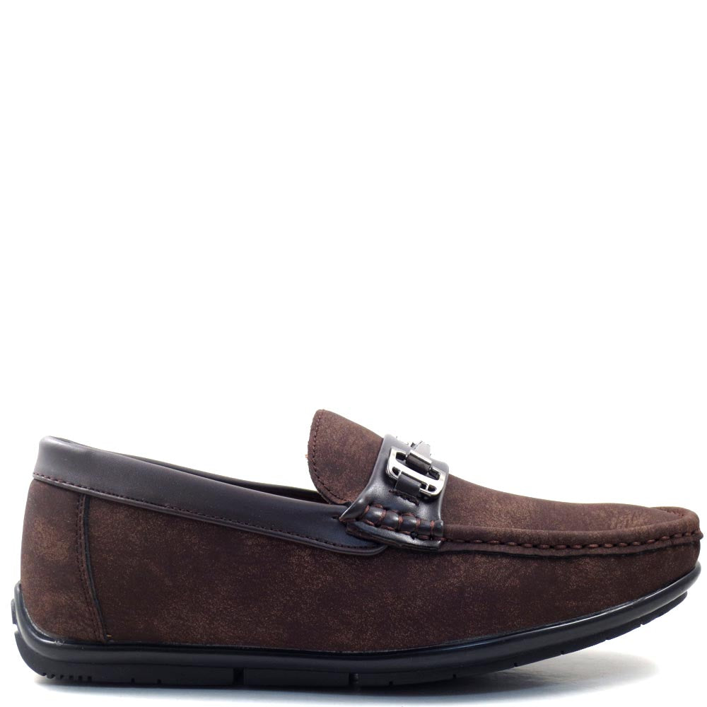 Slip On Driver Moccasins with Metal Buckle Strap - SED8037