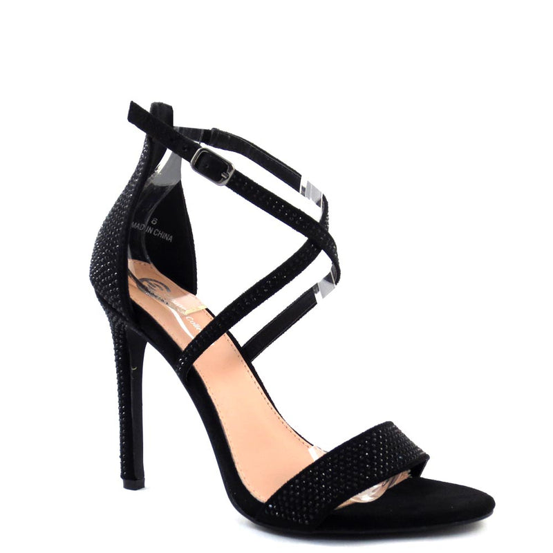Elegant Collection Studded Open Toe Cross Straps Buckle Detail High Heels - Sheena