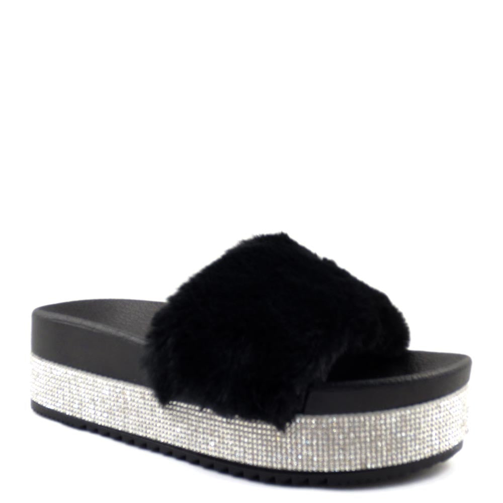 Olivia Jaymes Furry Upper Detailed Rhinestone Platform Sandals - Snow