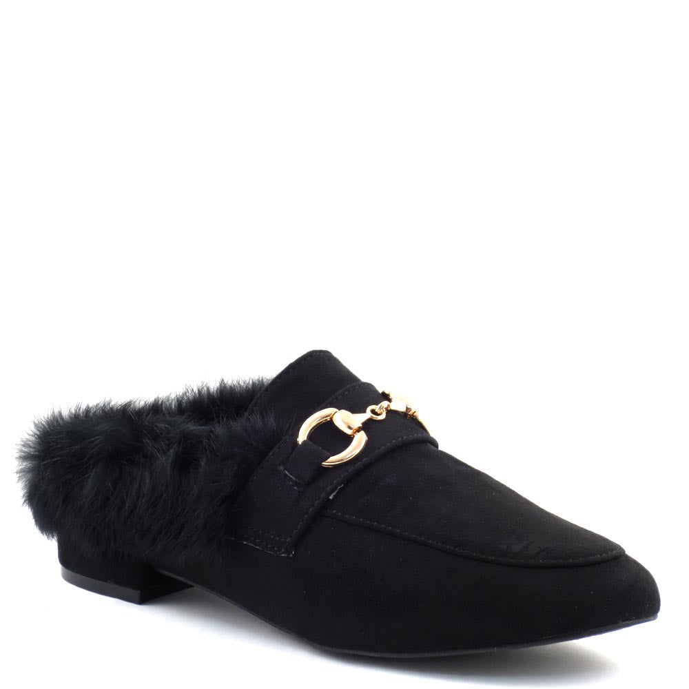 Olivia Jaymes Closed Toe Furry Lining Detail Ornament Mule - Sonia