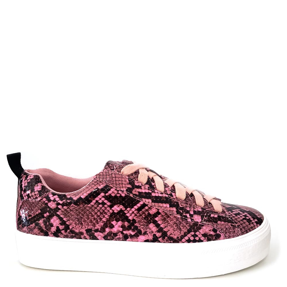 Women's Shoe Republic Pink / Black Snake Skin Lace Up Sneakers - Soto