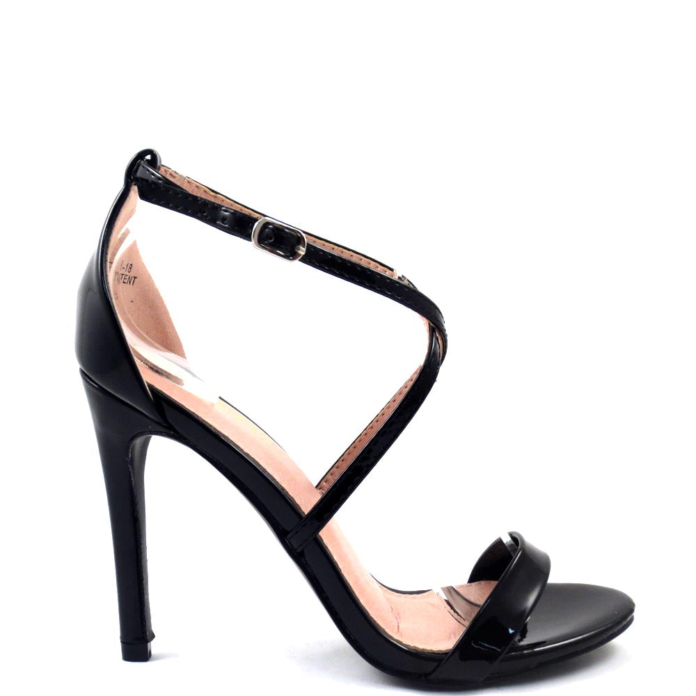 Bella Marie Open Toe Cross Straps Buckle Detail High Heels - Story 18