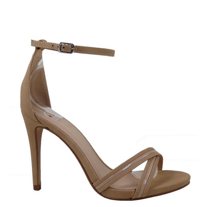 Delicious Cross Pattern Ankle Strap Buckle Detail Stilleto Heels - Skybus