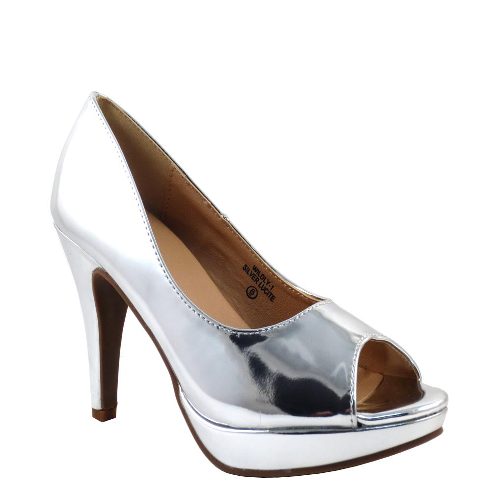 Love Mark Classic Patent Peep Toe Platform Stiletto Heel - Wildly