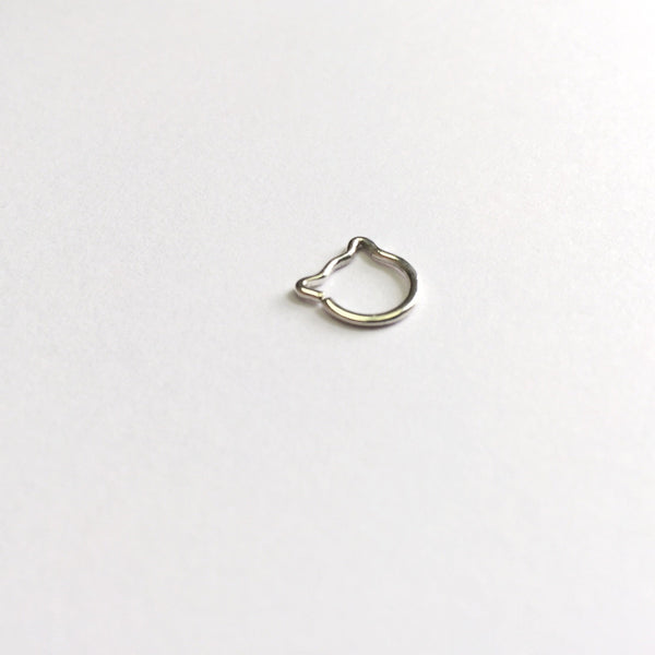 Cat Piercing Ring - nickel-free fine silver (999) earring - Cat's Curiosity Shop
