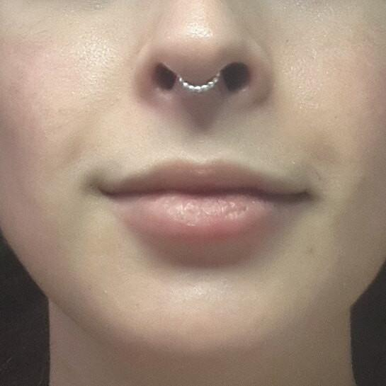 Fake Septum Ring - beaded sterling silver - Cat's Curiosity Shop