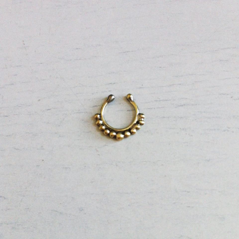 Fake Septum Piercing Gold Colour Faux Septum Or Nipple Tribal