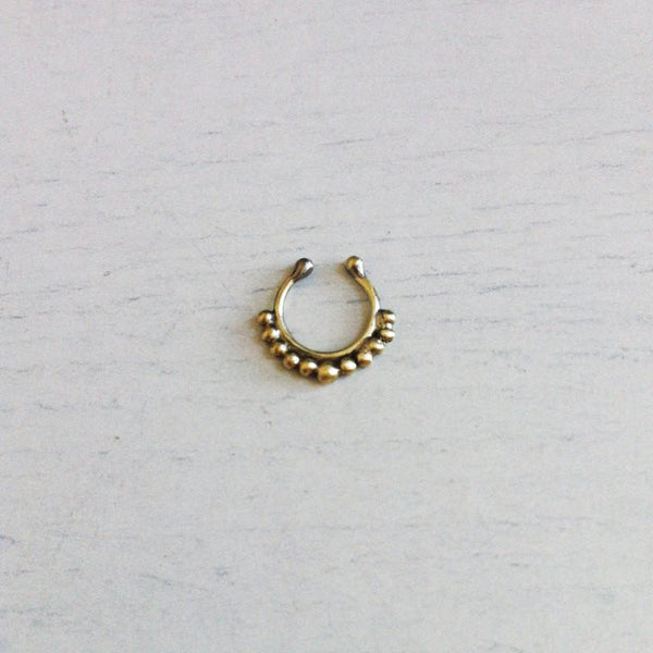 Fake Septum Piercing - gold colour faux septum or nipple tribal clip on hoop - no piercing ring - Cat's Curiosity Shop
