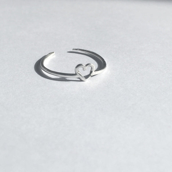 Love Heart Thumb Ring - Sterling Silver 925 - Cat's Curiosity Shop