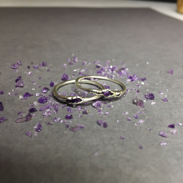 Hidden Amethyst and Recycled Silver Ring - Cat's Curiosity Shop