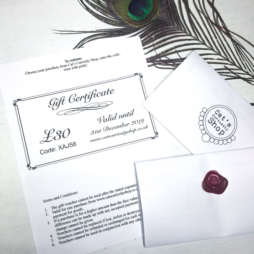 Gift Certificate - Cat's Curiosity Shop