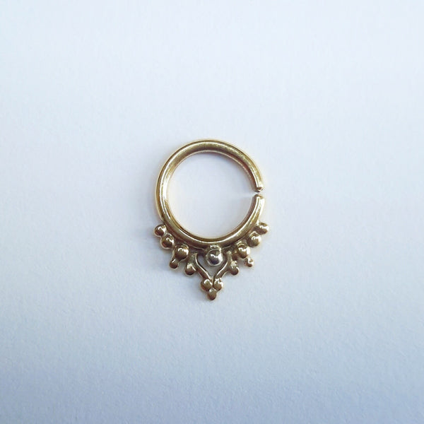 9k Gold Ornate Piercing Ring - Cat's Curiosity Shop