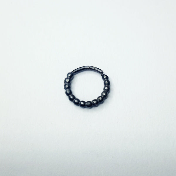 Black Beaded Piercing Ring - Nickel Free Fine Silver, Oxidised - Cat's Curiosity Shop