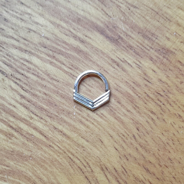 Boho Chevron Septum Ring - nickel free silver, arrowhead design - Cat's Curiosity Shop