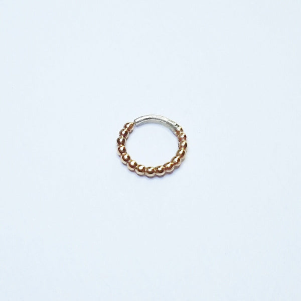 Septum Rings - Gold Beaded Piercing Ring - Nickel Free, Bubble Texture