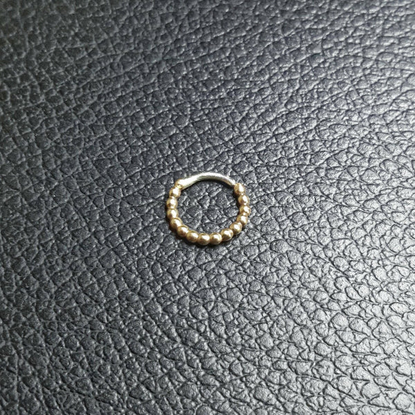 Gold Beaded Piercing Ring - nickel free, bubble texture - Cat's Curiosity Shop