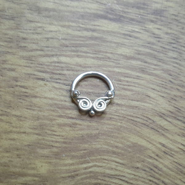 Whirlpools - Nickel Free Silver Piercing Ring - Cat's Curiosity Shop