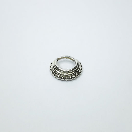 Stacked Septum Ring - nickel free silver piercing hoop, ethnic design - Cat's Curiosity Shop
