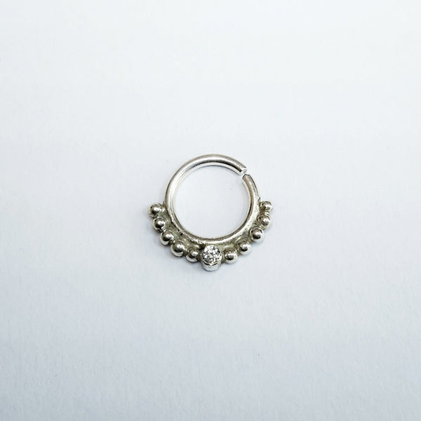 Swarovski Septum Ring - Nickel free silver septum jewelry, crystal tragus ring, boho nose ring, boho septum ring, boho piercing - Cat's Curiosity Shop
