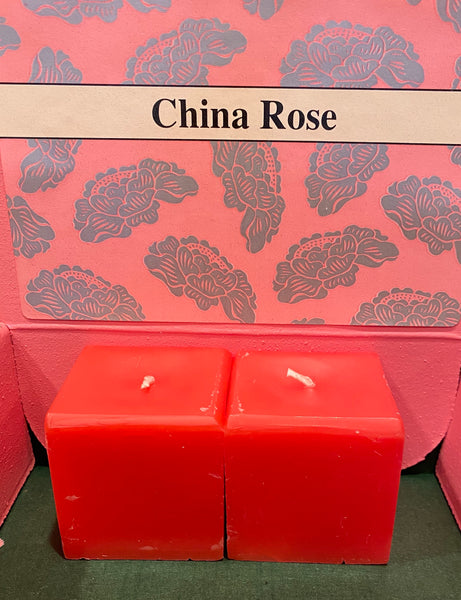 Square Candle China Rose