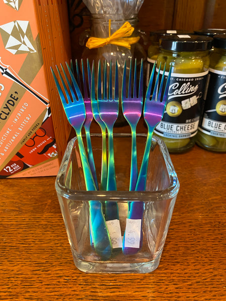 Colored Metal Finish Cocktail Fork
