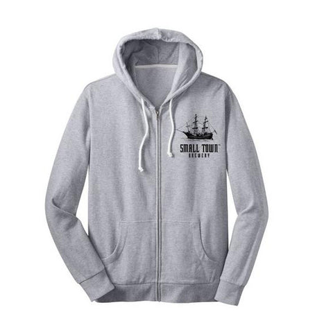 SMALL TOWN BREWERY GREY ZIP-UP HOODIE
