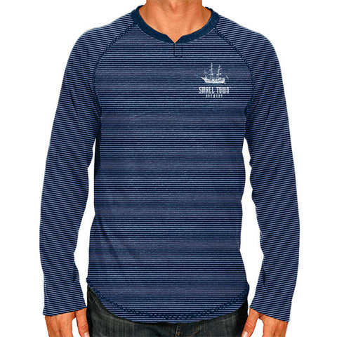 SMALL TOWN MEN'S NAVY STRIPED HENLEY