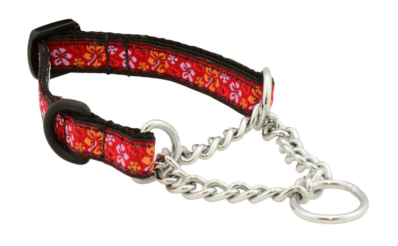 "Herm Sprenger chains, stainless d-ring, 1/2"" wide, nylon webbing, unique patterns, brilliant designs, training collars, martingale collar, bright patterns, Canadian made, first nation inspired patterns"