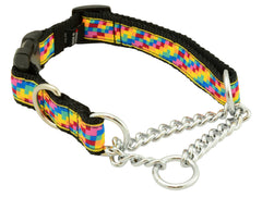 "quick release, clip collar for safety, stainless steel chains, stainless d-ring, 1"" wide, nylon webbing, unique patterns, brilliant designs, training collars, martingale collar, bright patterns, Canadian made, first nation inspired patterns"