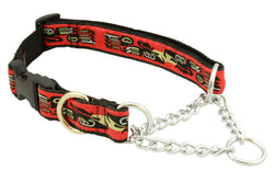 "quick release, clip collar for safety, stainless steel chains, stainless d-ring, 1 1/4"" wide, nylon webbing, unique patterns, brilliant designs, training collars, martingale collar, bright patterns, Canadian made, first nation inspired patterns"