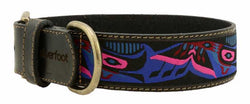 "black leather collars, brown leather collars, 100% cow hide, full hide, high quality leather, 1"" wide, unique patterns, brilliant designs, bright patterns, first nation inspired"