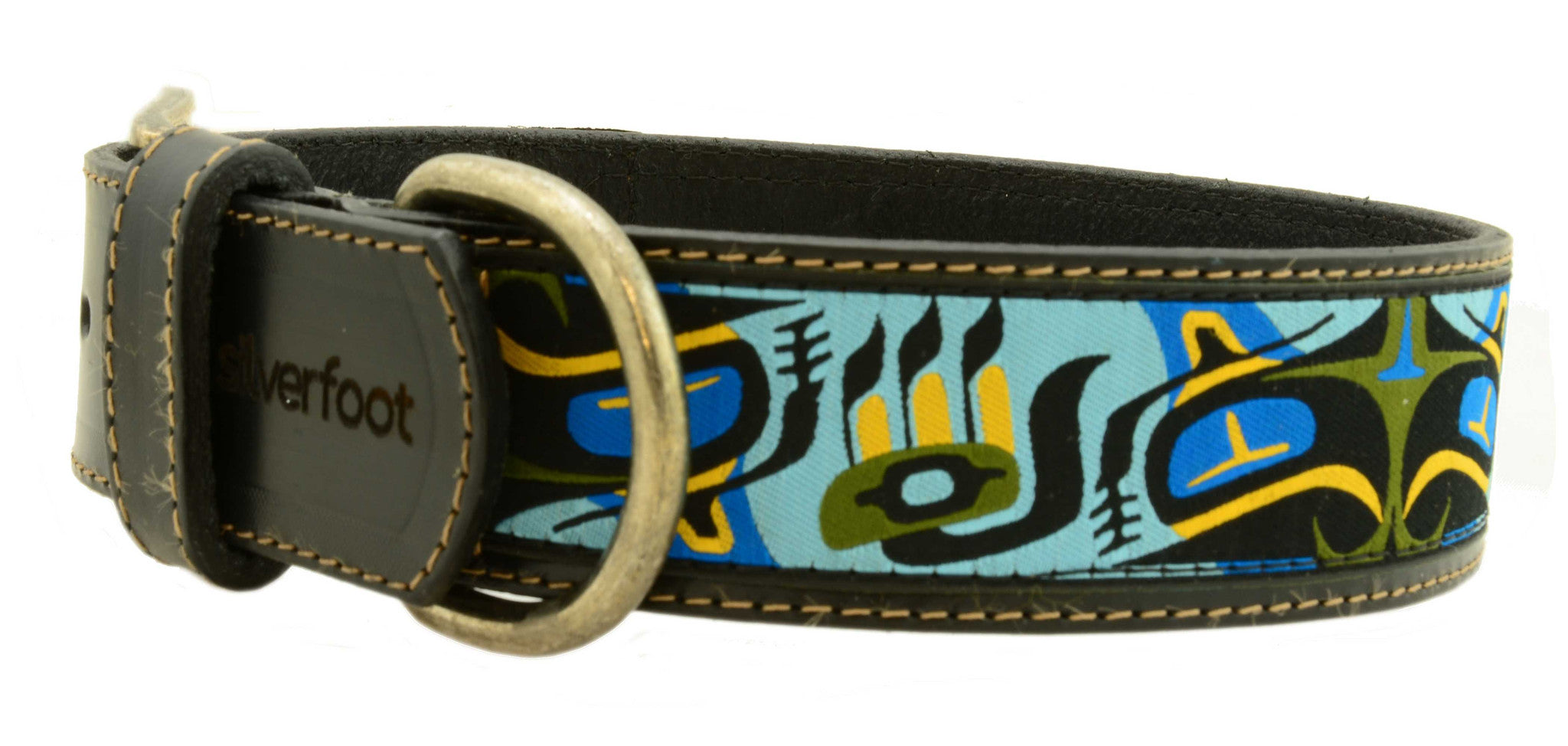 "black leather collar, brown leather collars, black leather, brown leather, 100% cow hide, full hide, high quality leather, 1 1/2"" wide, unique patterns, brilliant designs, bright patterns, first nation inspired"