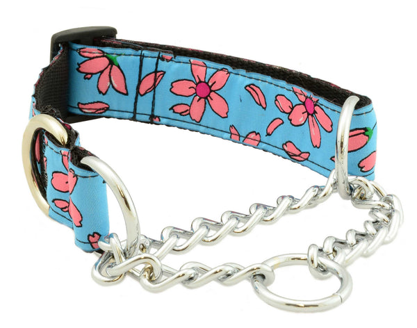 "stainless steel chains, stainless d-ring, 1 1/4"" wide, nylon webbing, unique patterns, brilliant designs, training collars, martingale collar, bright patterns, Canadian made, first nation inspired patterns"