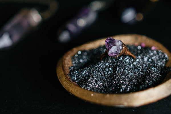 Shop Portland Local Altar PDX Jewelry Rings Crystals Amethyst Cathedral Benefits Properties Magic Mystics Energies Healing New Age Goth Purple Rocks