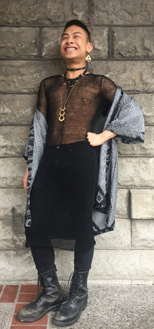 Fine China Wearing Local Portland Fashion: Indie Ella Kimono, Morph Knitwear Linen Tunic Dress, MKO Collar, Blackhorne Sacred Collar, Noniko Earrings, and PRIMITIVE 3 Tier Stamped Brass Necklace