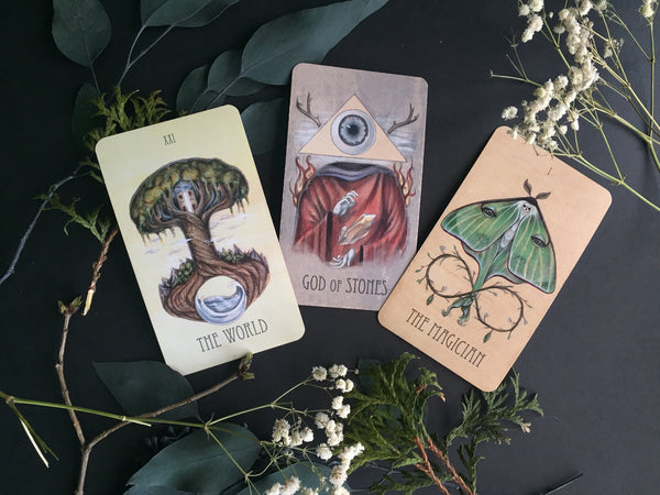 Portland Local Altar PDX The Wooden Tarot Deck: The World, The Magician, and God of Stones