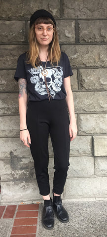 Portland Local Fashion Altar PDX Houseline Cigarette Pant, Wolfchild Hereafter T-Shirt, Dwellore Minor Arcana Sword Necklace and Amphora Ring, Theeth Scorpion and Labradorite Ring, and J.J. Burton Skull Bolo Tie