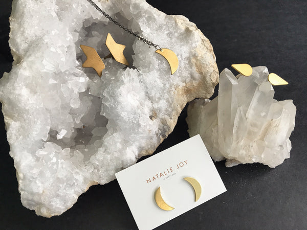 Shop Portland Local Altar PDX Natalie joy Jewelry Geode Quartz Crystal Moon earrings Star floating ring copper gold rings handmade local indie