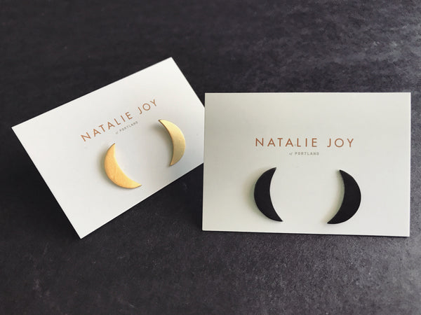 Shop Portland Local Altar PDX Dainty Moon Earrings Handmade Jewelry Black Earrings Independent
