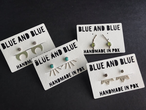 Shop Portland Local Boutiques Fashion Jewelry Blue & Blue Earrings Sterling Silver Stones Jackets