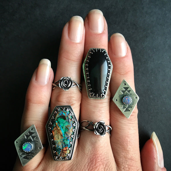 Shop Portland Local Altar PDX Alternative Fashion Boutique Star Strung Jewelry Independent Pacific Northwest Rings Sterling Silver Onyx Opal Ruby Star